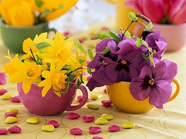 Флористическая чашка как элемент декора