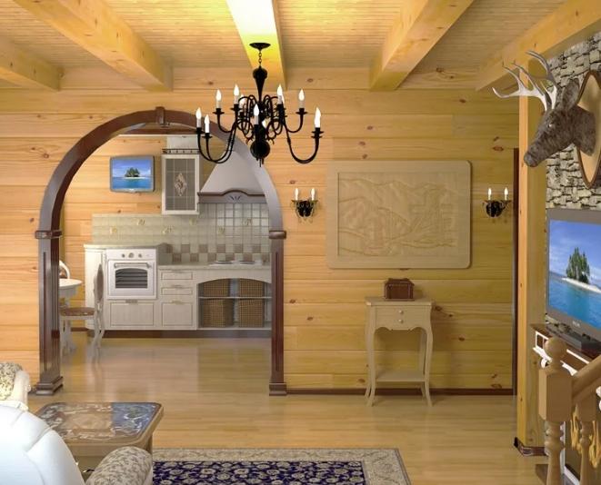 Внутренняя отделка домов из бруса